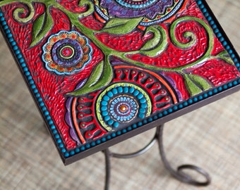 Small Mosaic Table Side Table Floral Mosaic Table in Metal Side Table End Table Handmade Ceramic Tiles & Semiprecious Stones Boho Decor