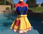 Snow White Inspired Sassy Apron with Apple Print Petticoat, Princess Costume, Womens Aprons, Girls Sizes, Misses and Plus Sizes, Cosplay