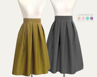 Cotton pleated midi skirt - custom size, length, color for your everyday look / holiday / party / bridesmaids / school / work