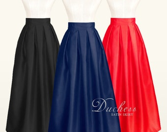 Duchess satin fully lined pleated long skirt with pockets - custom size, color, ankle maxi floor length ball gown skirt in black navy red