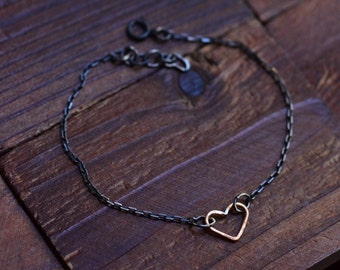 14kt Gold Open Heart Bracelet - Minimalist Modern Bracelet - Oxidized Silver Bracelet - Valentines Day Bracelet - Mixed Metal Bracelet
