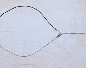 Dainty Sterling Silver Chain Necklace - Oxidized and Shiny Silver Contrast Necklace - Minimalist Y Necklace - Silver Chain Necklace