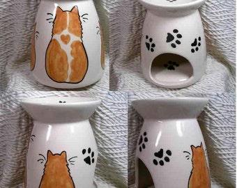 Ginger Cat With Kittens Fragrance or Scent Warmer Pot Handmade Slip Cast Ceramics by GMS