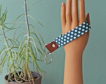Key Fob, Key Wristlet, vintage fabric, reclaimed leather/fabric