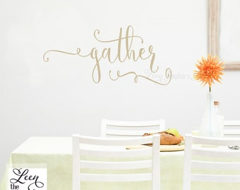 Gather Wall Decal - Fall Decoration - Autumn Decal - Thanksgiving Decor - Gather Wall Sticker - Made in USA
