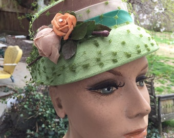 Vintage Ladies' Green Cloche Hat with Netting, Millinery Flowers and Brown, Ecru and Green Nylon Bands