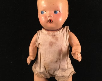 Vintage Well Loved Composition Doll with Moveable Arms and Legs