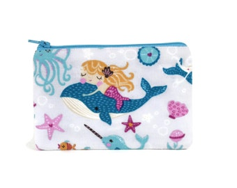 CHOOSE SIZE Under the Sea Mermaids Make Up Bag / Small Zipper Pouch in Mermaids