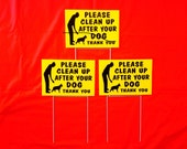 """2 signs 12"""" x 8"""" Clean Up After Dog Sign No Dog Poop Pee  sign no dog poop Sign Weatherproof plastic 2 steel stands ship 24 hrs"""