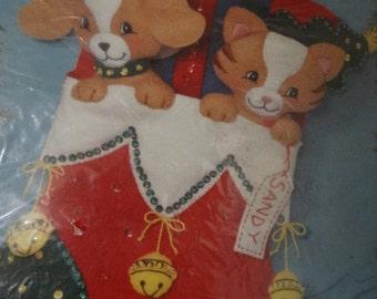 1994 Bucilla Furry Friends Stocking Christmas Felt Applique Kit 83283 - Kitten,Puppy, Best Friend, Candy Cane, Kitty Cat, Woof, Monogrammed