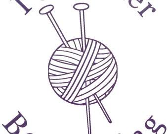 Knitting Vinyl Decal, I'd rather be KNITTING, Yarn Vinyl Decal, Knitting Sticker