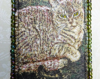 Tiny Art Quilt ATC Sweet Brown Tabby Cat Portrait