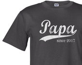 Papa since any year, custom mens tshirt, father's day gift, personalized gift for men, screenprinted t-shirt