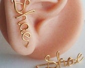 Ear Climber earring,name earrings, Personalize name earring ,  Name or Word,14 K Gold fill.Sterling Silver 925.Copper or plated wire. Gift