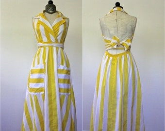 Wrap Dress • Striped Dress • Yellow Dress • Open Back Dress • Summer Dress • 1970s Dress • Yellow Wrap Dress • Sundress • Waitress Dress
