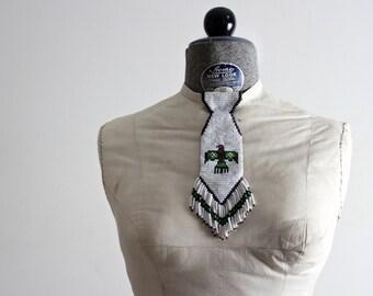 Native Necktie • Navajo Necktie • Navajo Jewelry • Navajo Beaded Tie • Southwestern Jewelry • Native American Beadwork • 1950s Thunderbird
