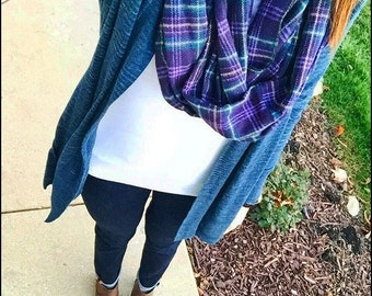 Tartan Plaid Scarf - Purple Plaid Flannel Scarf - Blue Flannel Infinity Scarf - Winter Scarf - Women's Scarf - Gift for Her