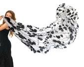 Black and white Scarf,  Vine Shawl, Hand Painted Scarf, Boho woodland Scarf, Fall Scarf, Festival Accessories, Designer Scarf