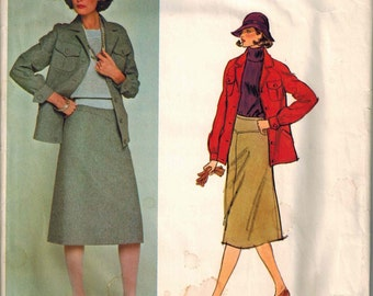 1970's Vogue 1306 Vogue Paris Original Pierre Balmain Skirt and Jacket Retro Mod Dress Sewing Pattern Vintage Size 12