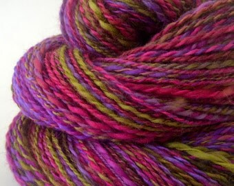 Handspun Yarn -  Spindle Spun Merino Yarn - Art Yarn- 1.75oz, 212yd, 18WPI
