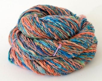 Handspun Yarn - Spindle Spun Silk Yarn - Art Yarn - .9oz, 124yd, 16WPI