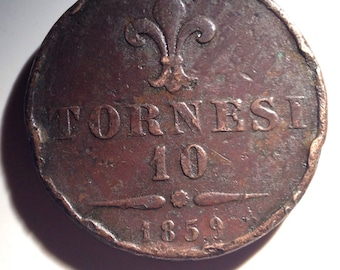 1859 10 Tornesi Coin Italy Naples and Sicily