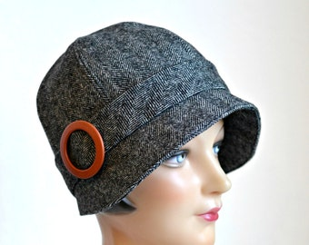 Cloche Hat in Black and White Tweed - Made to Order - 3 Weeks to Ship