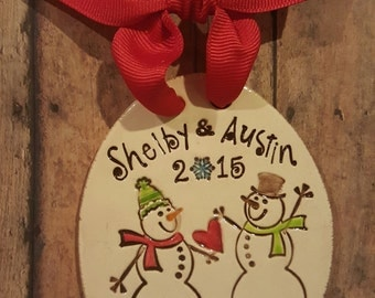 Personalized Snow Couple First Christmas Newlywed Wedding Large Ornament - Personalized wedding, our first christmas