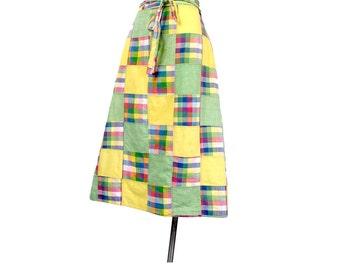 Vintage 70s Skirt - 70s Wraparound Skirt - Madras - Wraparound Skirt - Madras Plaid - India - Madras Skirt - Patchwork Skirt - Preppy - L XL
