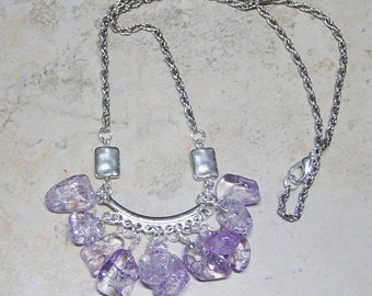 Purple Beaded Silver Chain Necklace, Purple Necklace, Ice Flake Quartz Bead Necklace, Silver Necklace, Boho