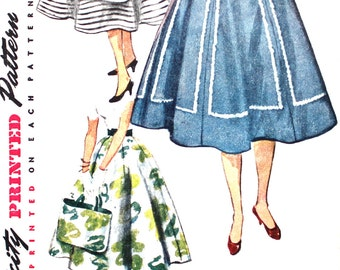 Simple to Make 1950's Full 6 Gored Waist 28 Simplicity 4751