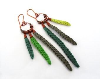 Crochet earrings,tribal earrings,native inspired earrings,fiber earrings,cotton earrings,copper earrings,spring,green,long dangle earrings