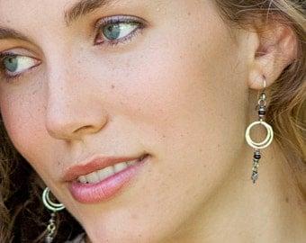 Amethyst & Garnet Earrings, Sterling Silver Dangle Earrings, Red and Purple Beaded Gemstone Earrings, Dainty Boho Earrings, Gift for Her