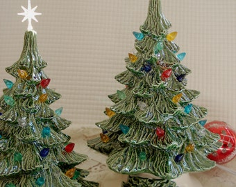 Ceramic 10 inch Christmas tree with base - ready to be shipped