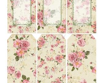 Instant Download -  Rose Tags -  Printable Digital Collage Sheet - Digital Download - Scrapbook Embellishment