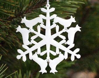 Christmas Tree Ornament - Corgi Snowflake Holiday Ornament