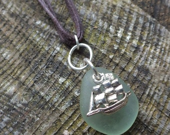 Pirate Ship Charm Pendant, Scottish Sea Glass, Handmade Gift from Scotland, Beach Necklace