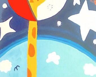 Astronaut Giraffe 12x18 Art Print by Giraffes and Robots