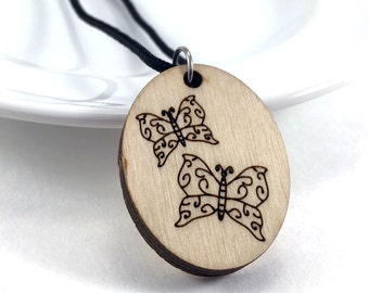 Wood Essential Oil Necklace, Wood Butterfly Necklace, Wood Aromatherapy Jewelry, Diffuser Necklace, Butterfly Jewelry, Laser Cut Pendant