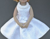 White Brocade dress set for 13 inch dolls such as Little Darlings by Dianna Effner