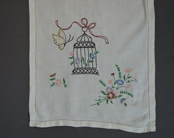 Vintage Table Runner or Dresser Scarf Embroidered Butterfly & Birdcage Vintage Linen, Handmade 1940s Linens, 38 x 15 inches