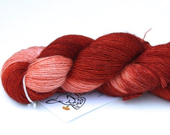 Flamingo Bay OOAK--hand dyed lace weight yarn, BFL and silk, (875yds/100gm)
