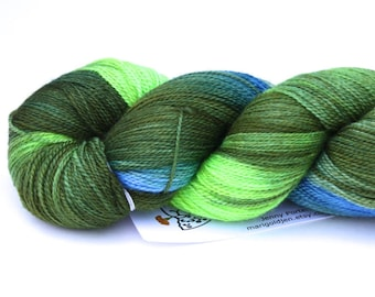 Blue Spruce--hand dyed lace weight yarn, BFL and silk, (875yds/100gm)