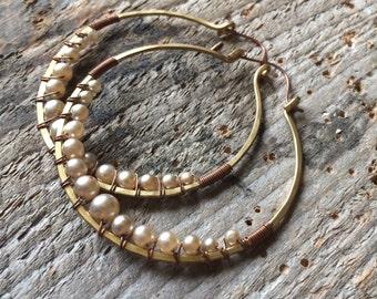 Wire Wrap Hoop Earrings Pearl Earrings Large Hoop Earrings Rustic Jewelry Daniellerosebean Big Hoops