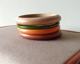 Earth Tone Plastic and Wood Bangle Medley