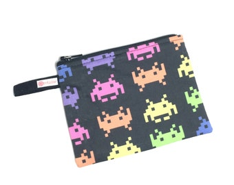 Space Invaders zip pouch.  Zipper pouch.  Small zip pouch.  Coin purse.  Card holder.  Gift card holder.  Business card holder.