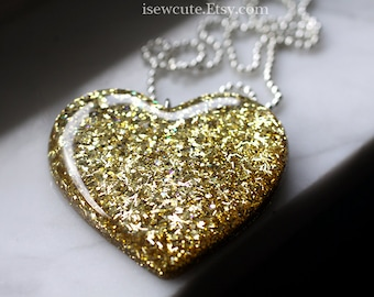 Big Resin Heart Jewelry, Festival Stage Fashion Giant Golden Glitter Heart Necklace, Really Big Bling, Resin Necklace isewcute