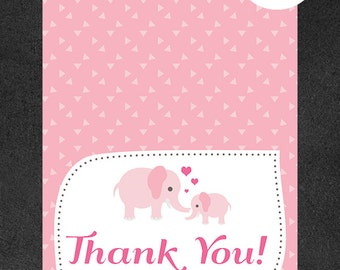 Pink Elephant Baby Shower Thank You Card - Folded Thank You Card Printable - Instant Download PDF