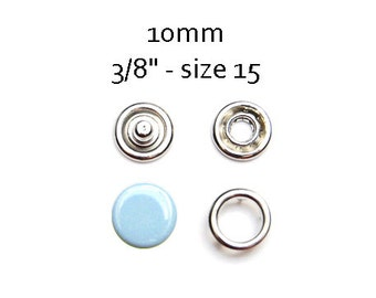 25 sets Baby Blue Snap Fasteners 10MM. capped snaps. clothes fasteners. no sew snap buttons. metal prong snaps. diaper snaps #700133