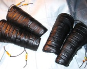Black Soft Patchwork Leather Bracers Unisex for LARP/ Rocker/ SCA/ Everyday Wear